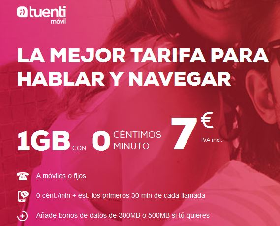 Tarifa de datos más barata con Tuenti