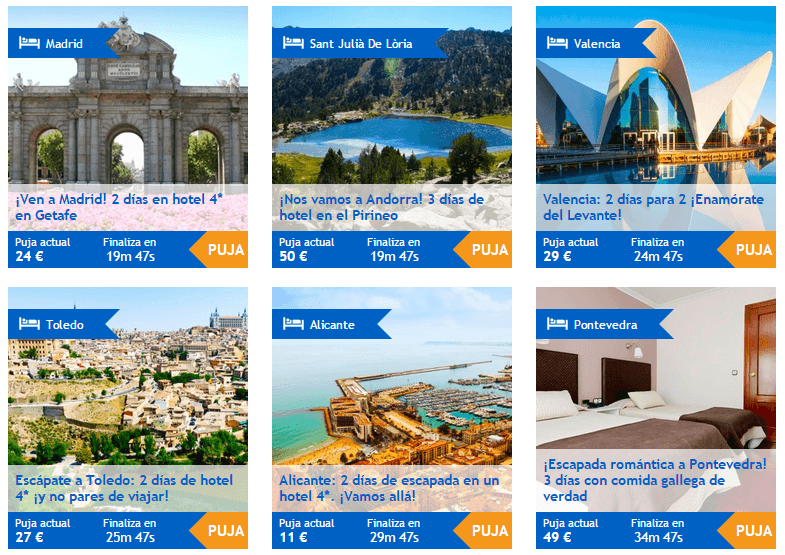 Subasta de viajes y hoteles baratos